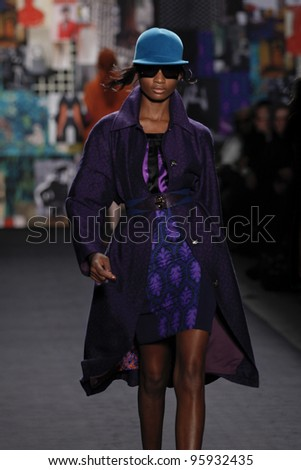NEW YORK - FEBRUARY 12: Model walks runway for Tracy Reese collection during Fashion week at Lincoln Center in Manhattan on February 12, 2012 in New York City - stock photo