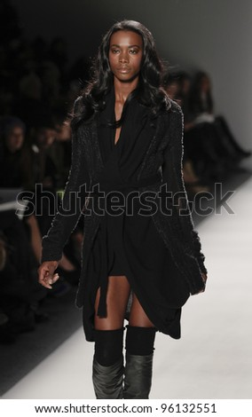 NEW YORK - FEBRUARY 11: Model walks runway for Vantan Tokyo collection by Cheryl Chee during Fashion week at Lincoln Center in Manhattan on February 11, 2012 in New York City
