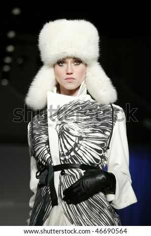 NEW YORK - FEBRUARY 13: Model walks the runway at the Irina Shabayeva, winner of Project Runway 6,  Collection for Fall/Winter 2010 during Mercedes-Benz Fashion Week on February 13, 2010 in New York.