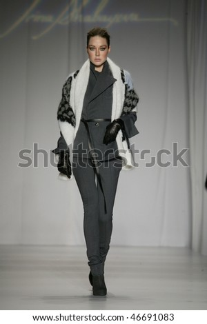 NEW YORK - FEBRUARY 13: Model walks the runway at the Irina Shabayeva, winner of Project Runway 6,  Collection for Fall/Winter 2010 during Mercedes-Benz Fashion Week on February 13, 2010 in New York - stock photo