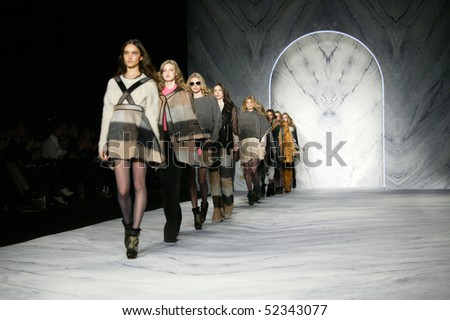 NEW YORK - FEBRUARY 17: Models are walking the runway at the PHILLIP LIM Collection for Fall/Winter 2010 during Mercedes-Benz Fashion Week on February 17, 2010 in New York. - stock photo