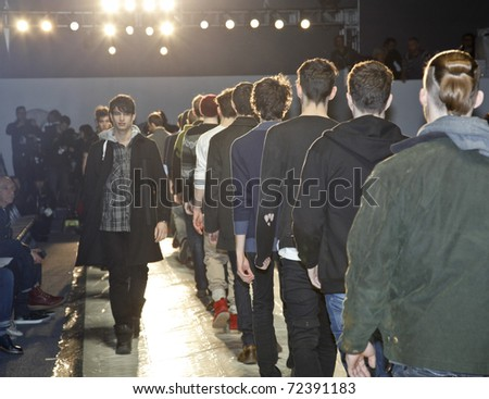 NEW YORK - FEBRUARY 10: Models rehearse for Duckie Brown collection by Steven Cox, Daniel Silver Mercedes-Benz Fall/Winter 2011 Fashion Week on February 10, 2011 in New York City - stock photo