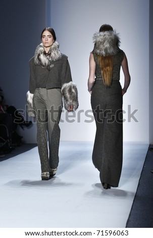NEW YORK - FEBRUARY 16: Models walk runway for collection by Christian Cota at Mercedes-Benz Fall/Winter 2011 Fashion Week on February 16, 2011 in New York City. - stock photo