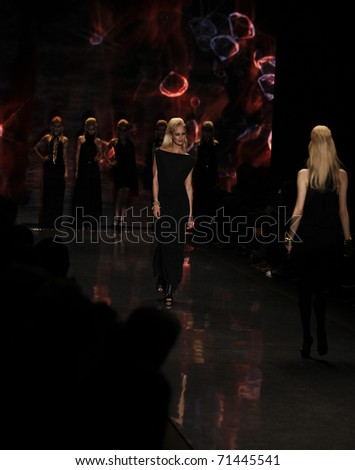 NEW YORK - FEBRUARY 17: Models walk runway for L.A.M.B. collection by Gwen Stefani at Mercedes-Benz Fall/Winter 2011 Fashion Week on February 17, 2011 in New York City.