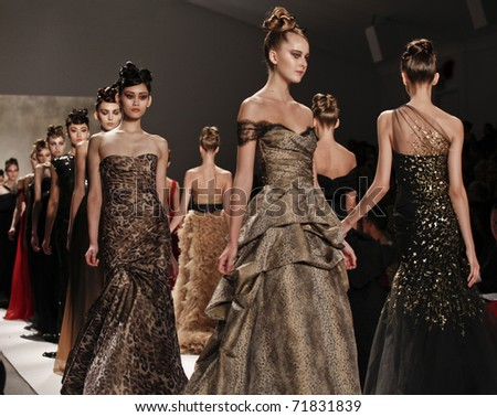 NEW YORK - FEBRUARY 14: Models walk runway for Monique Lhuillier collection at Mercedes-Benz Fall/Winter 2011 Fashion Week on February 14, 2011 in New York City - stock photo