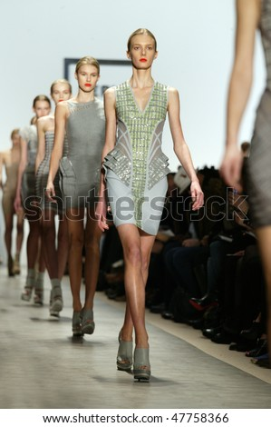 NEW YORK - FEBRUARY 14: Models walk the runway at the Herve Leger Collection for Fall/Winter 2010 during Mercedes Benz Fashion Week on February 14, 2010 in New York - stock photo