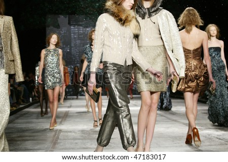 NEW YORK - FEBRUARY 18: Models walk the runway at the Isaac Mizrahi Collection for Fall/Winter 2010 during Mercedes-Benz Fashion Week on February 18, 2010 in New York - stock photo