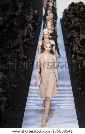 NEW YORK - FEBRUARY 09 2014: Models walk the runway during the Herve Leger fall 2014 fashion show at New York Mercedes - Benz Fashion Week - stock photo