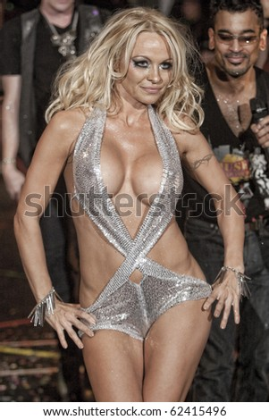 NEW YORK - FEBRUARY 17: Pamela Anderson at Richie Rich York fashion week Fall Winter 2010 fashion show february 17, 2010 in New York, New York - stock photo