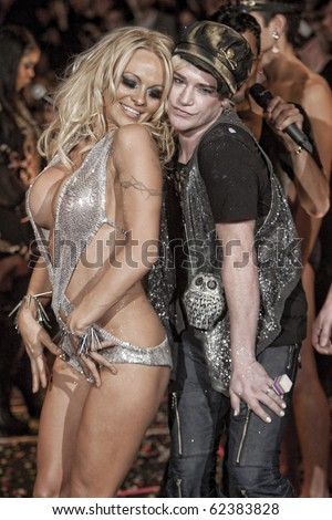 NEW YORK - FEBRUARY 17: Pamela Anderson in Richie Rich York fashion week Fall Winter 2010 fashion show february 17, 2010 in New York, New York - stock photo