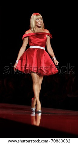 NEW YORK - FEBRUARY 09: Suzanne Somers in Ina Soltani dress walks runway for The Heart Truth's Red Dress Collection at Mercedes-Benz Fall/Winter 2011 Fashion Week on February 09, 2011 in New York City