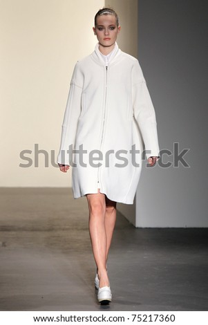 NEW YORK - FEBRUARY 17: Top model Jac Jagaciack walks the runway at the Calvin Klein Fall 2011 Collection presentation during Mercedes-Benz Fashion Week on February 17, 2011 in New York.