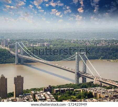 New York. George Washington Bridge and Hudson River, aerial view. - stock photo