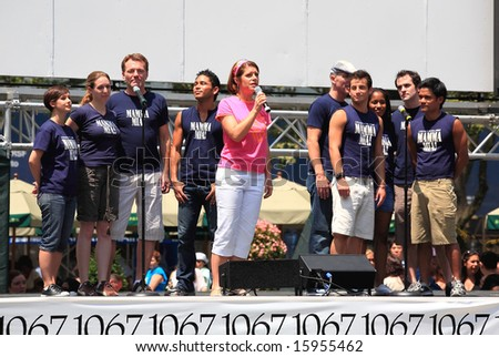 NEW YORK - 17: Heidi Godt and others Performed in Mamma Mia! - The Broadway at Bryant Park in NYC - a free public event on July 17, 2008 - stock photo
