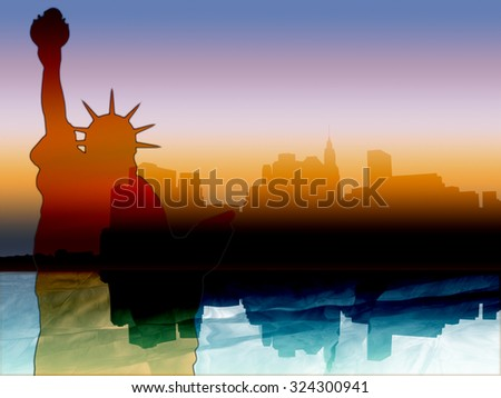 New York illustration with colorful Manhattan skyline reflected in Hudson river at sunset and the Statue of Liberty - stock photo