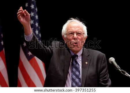 New York, Jan 5, 2016. Democratic Presidential hopeful Senator Bernie Sanders of Vermont speaks during a campaign stop at the Town Hall Theater in New York City.  photo by Trevor Collens - stock photo