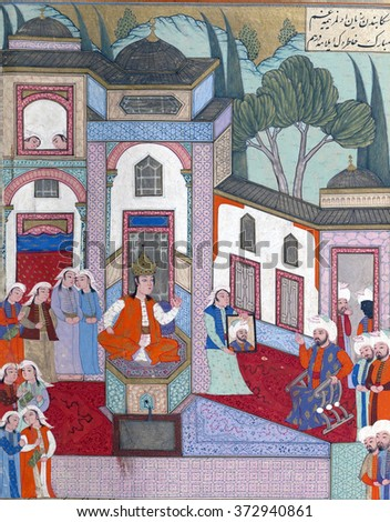 NEW YORK - JAN 15, 2016 - Qaydafah, queen of Andalus, recognizes Iskandar, who has come to her court disguised as his own ambassador - stock photo