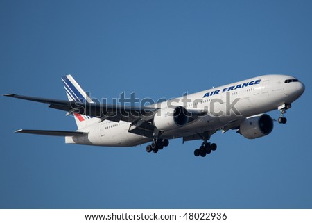 NEW YORK - JANUARY 9: A Boeing 777 Air France arrives at JFK Airport on Runaway 4R on January 9, 2010 in New York.