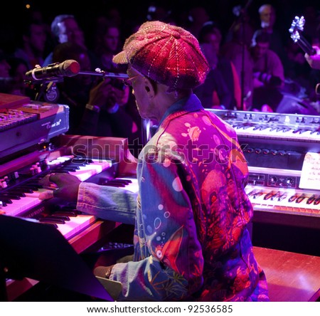 NEW YORK - JANUARY 07: Bernie Worrell performs with his orchestra as part of NYC Winter Jazz Festival at Le Poisson Rouge on January 07, 2012 in New York City