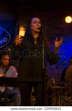 NEW YORK - JANUARY 12: Claudio Acuna vocals performs with Claudia Acuna band on stage as part of NYC Winter Jazz Festival at The Bitter End on January 12, 2013 in New York City