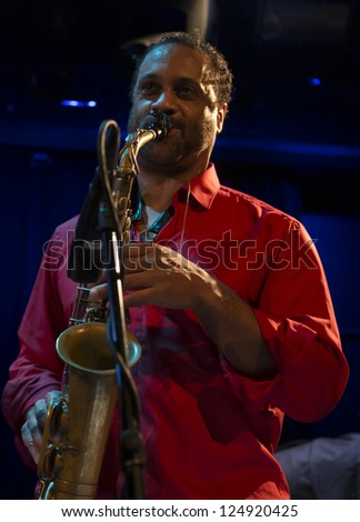 NEW YORK - JANUARY 12: Craig Handy sax performs with Billy Harper band The Cookers on stage as part of NYC Winter Jazz Festival at Le Poisson Rouge on January 12, 2013 in New York City - stock photo
