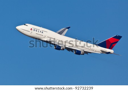 NEW YORK - JANUARY 2: Delta Boeing 747 on final to JFK in New York, USA, on January 2, 2012. Delta Air Lines is one of the major American airlines that serves domestic and international destinations - stock photo