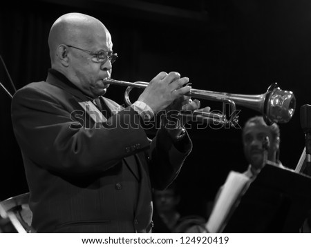 NEW YORK - JANUARY 12: Eddie Henderson trumpet performs with Billy Harper band The Cookers on stage as part of NYC Winter Jazz Festival at Le Poisson Rouge on January 12, 2013 in New York City - stock photo