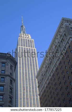 NEW YORK - JANUARY 30:Empire State Building close up on January 30, 2014. The Empire State Building is a 102-story landmark and was world's tallest building for more than 40 years.  - stock photo