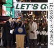 NEW YORK - JANUARY 21: (L-R) Michael Kay Mike, Tannenbaum, Leon Washington, and Curtis Martin at the New York Jets AFC Championship game pep rally in Times Square on January 21, 2010 in New York City. - stock photo