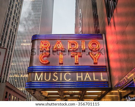NEW YORK - JANUARY 3, 2015: New York City landmark, the Radio City Music Hall is home of the Rockettes and famous annual Christmas Spectacular. - stock photo