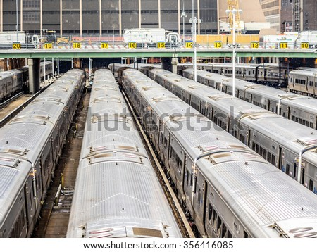 NEW YORK - JANUARY 3, 2015: New York City Subway is one of the world's oldest public transit systems. The subway delivers billions of rides every year. - stock photo