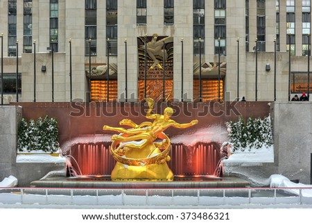 New York - January 24, 2016: Prometheus statue and ice rink in Rockefeller Center in New York. - stock photo