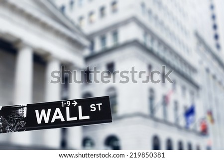 New York, January 20, 2014 - Wall Street sign in Manhattan - stock photo