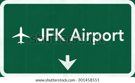 New York John Fitzgerald Kennedy JFK USA International Airport Highway Road Sign 2D Illustration