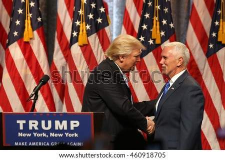 NEW YORK - JUL 16, 2016:  Donald Trump and Mike Pence appear on stage during  press conference on July 16, 2016 in New York.