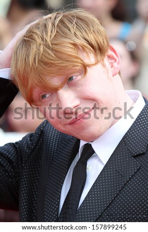 "NEW YORK - Jul 11: Rupert Grint attends the premiere of ""Harry Potter And The Deathly Hallows: Part 2"" at Avery Fisher Hall on July 11, 2011 in New York City."