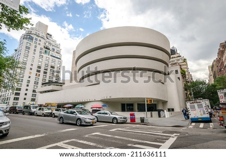 NEW YORK - JUL 17: The famous Solomon R. Guggenheim Museum of modern and contemporary art, on July 17, 2014 in New York City, USA - stock photo