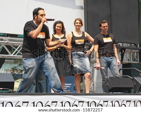 NEW YORK - JULY 31: Actor Adam Matta and cast performed In Transit at The Broadway in Bryant Park in NYC - a free public event on July 31, 2008 - stock photo
