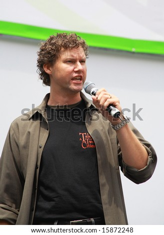 NEW YORK - JULY 31: Actor Kevin Earley performed A Tale of Two Cities at The Broadway in Bryant Park in NYC - a free public event on July 31, 2008 - stock photo