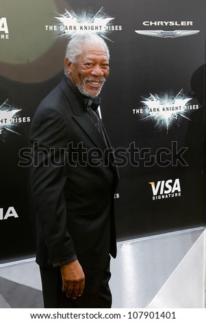 "NEW YORK-JULY 16: Actor Morgan Freeman attends the world premiere of ""The Dark Knight Rises"" at AMC Lincoln Square Theater on July 16, 2012 in New York City. - stock photo"