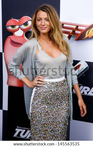 "NEW YORK-JULY 9: Actress Blake Lively attends the premiere of ""Turbo"" at the AMC Loews theater at Lincoln Center on July 9, 2013 in New York City.  - stock photo"