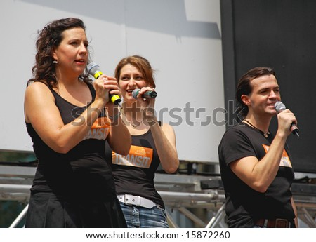 NEW YORK - JULY 31: Actress Kristen Anderson and cast performed In Transit at The Broadway in Bryant Park in NYC - a free public event on July 31, 2008 - stock photo