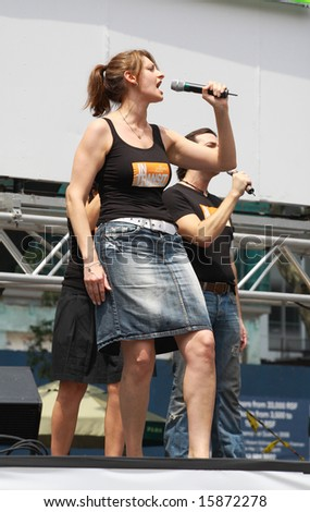 NEW YORK - JULY 31: Actress Sara Wordsworth and cast performed In Transit at The Broadway in Bryant Park in NYC - a free public event on July 31, 2008 - stock photo