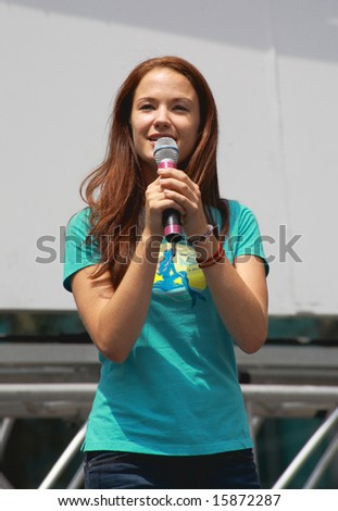 NEW YORK - JULY 31:  Actress Sierra Boggess performed In The Little Mermaid at The Broadway in Bryant Park in NYC - a free public event on July 31, 2008 - stock photo
