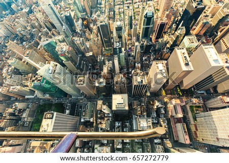 NEW YORK - JULY 02 2016: Aerial view of Central Park and Times Square, New York City at sunset