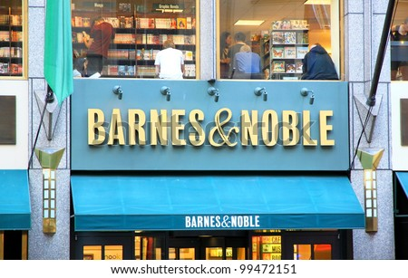 NEW YORK - JULY 15: Barnes and Noble sign on July 15, 2011 in New York.  With over 700 stores nationwide, Barnes and Noble Inc. is the largest book retailer in the United States. - stock photo