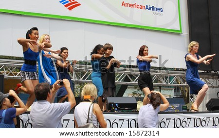 NEW YORK - JULY 31:  Brian D'Addario with cast performed in The Little Mermaid at The Broadway in Bryant Park in NYC - a free public event on July 31, 2008 - stock photo