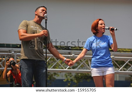 NEW YORK - JULY 17: Christopher Jackson and Janet Dacal performed in the Heights - The Broadway at Bryant Park in NYC - a free public event on July 17, 2008 - stock photo