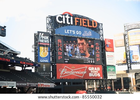 NEW YORK - JULY 15: Citi Field Scoreboard showing the Mets' Jason Bay on July 15, 2011 in New York, NY. Bay joined the Mets in 2009 after playing for the Boston Red Sox. - stock photo