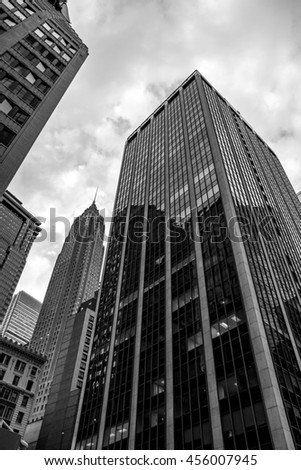 NEW YORK - 19 JULY 2016: Citibank building facade on South St. makes view on Manhattan Downtown perfect.